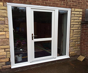 white upvc door clear glass with mid rail