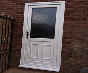 half kenal white upvc door