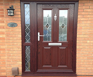half lincoln rosewood upvc door
