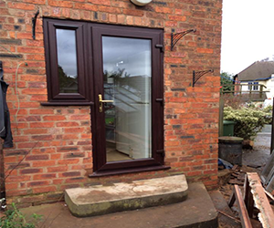 mahogany full glass upvc door