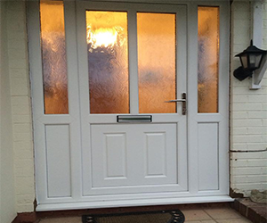 half lincoln white upvc door