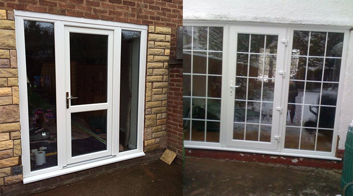 two white upvc doors clear glass and one astrical bar