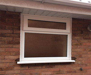 white upvc window with obscure glass with top opener