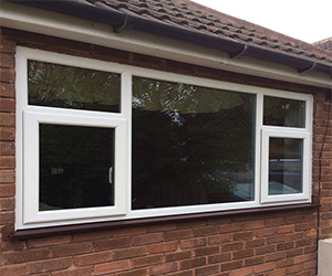 white upvc window with two side openers
