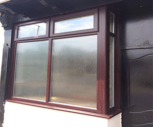 rosewood upvc window with obscure glass